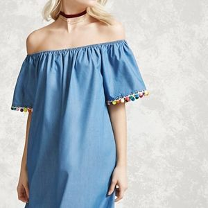 Forever 21 Dresses - pom-pom off the shoulder chambray dress size Small